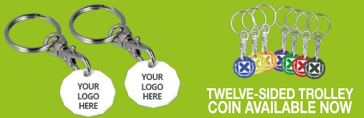New twelve sided £1 trolley coin keyring